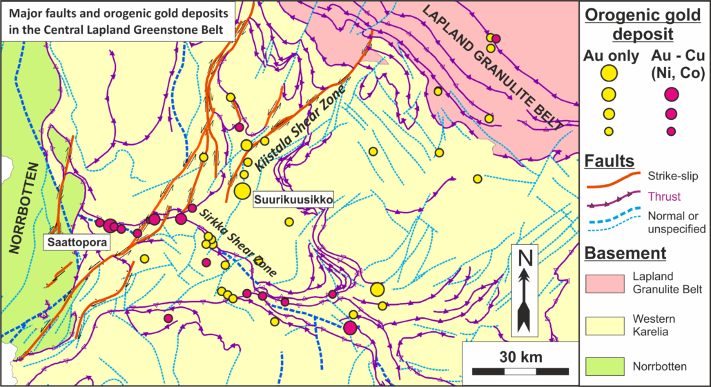 Major faults and orogenic gold deposits in the Central Lapland Greenstone Belt