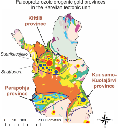 Finnish Lapland gold provinces