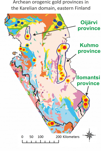 Archean orogenic gold provinces in the Karelian domain, eastern Finland.