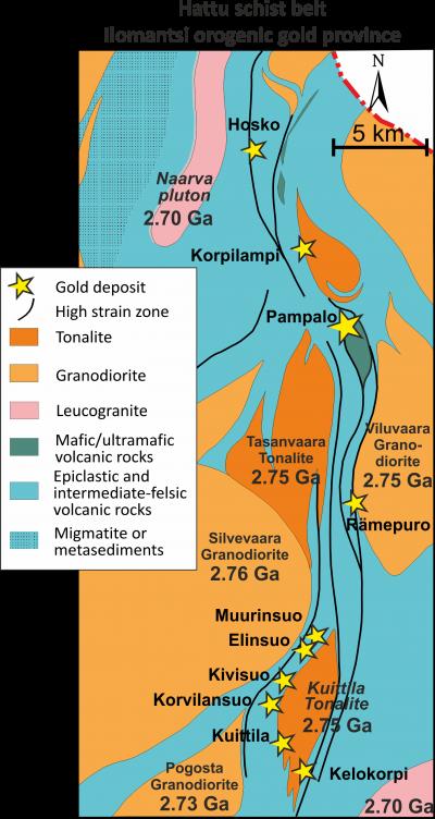 Hattu schist belt, Ilomantsi orogenic gold province.