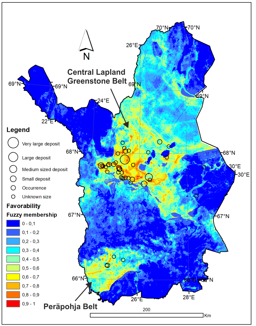 Orogenic gold prospecivity map for northern Finland