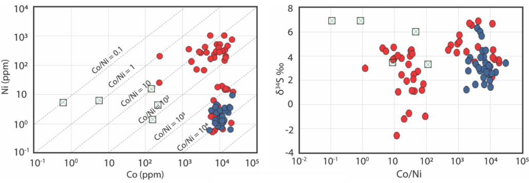 Trace element and sulphur isotope data for pyrite